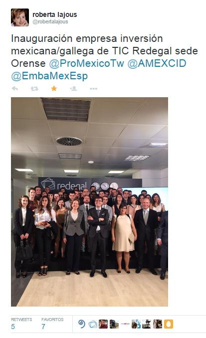 Inauguración, tweet de la embajadora de mexico